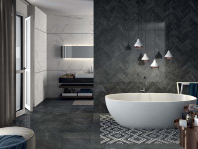 Pietra Grey LUX 60x60+10x30 + Statuario White LUX 30x120 + Mos. Art. Pietra Grey LUX 30x30, Mos. Dekor Cold LUX 30x30